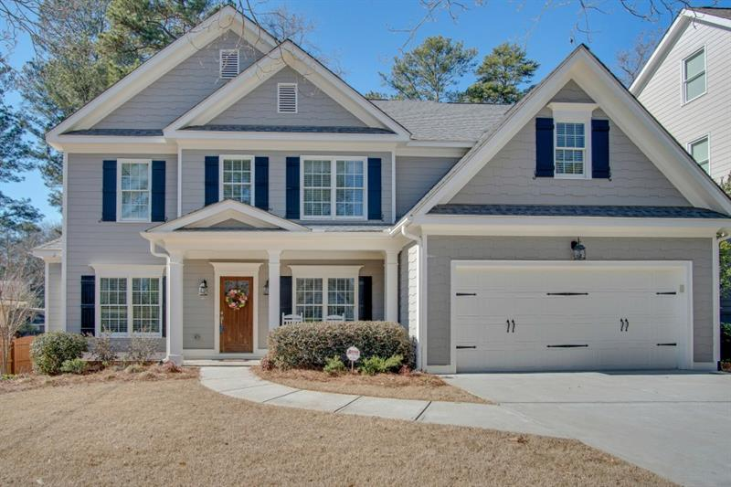Gorgeous newer construction in Drew Valley, in the heart of Brookhaven! Enjoy 10' ceilings, open floor plan, & spacious bedrms. Fab eat-in kitchen opens to family rm and features the Cararra marble you crave, white cabinets, island, SS appliances, and walk-in pantry. Family rm features gas fireplace with marble surround & custom bookcases. French door leads to newly painted deck & fully fenced, private, professionally landscaped yard. Master suite features a large walk-in closet, ensuite w/ dual vanity, sep tub & frameless shower. Easy access to downtown B'haven/B'head!