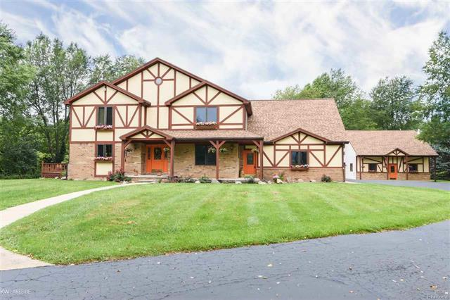 SELLER OFFERING $10,000 ALLOWANCE FOR NEW BUYER TO CUSTOMIZE. This Custom Bavarian Estate sits on 6 acres in Romeo surrounded by apple trees,private wooded lot, & Christmas Tree farm in the back lot.Large open foyer, Open concept Dining & Kitchen w/island & large peninsula w/ plenty of storage & seating.Entertaining is ideal with a wet bar, large Great Room w/vaulted ceilings to enjoy your custom surround sound (floor speakers, monster cable) making for a great movie night! Add'l play/hobby room w/rear entry door. The upstairs offers a large Master Suite (balcony & gas fireplace) with 3 generously sized bdrms with walk-in closets. Other features include: Partially finished bsmt, Current office can be an optional in-law suite. Large wrap around deck, 2016 New Roof, 2018 New AC, 3 car insulated attached garage, Detached garage includes 12?x32? overhang for trailers, 32?x32? garage to house 3+ cars, ORV, and toys. Upstairs is a bonus workshop (shop tools neg) w/ custom built-in shop vac.