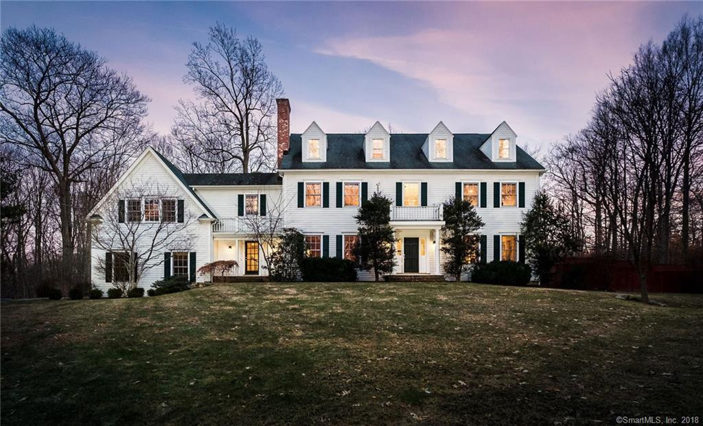 At the end of one of Weston's prettiest cul de sacs, 27 Church Lane sits proudly on the hilltop. This gracious, classic colonial by renowned local builder is close to town and top-notch schools, yet enjoys a wooded, natural setting. An elegant living room and graceful dining room w/fireplace flow seamlessly into an updated marble & granite, gourmet kitchen and warm family room w/fireplace. The vaulted bonus room and finished 3rd floor offer further living spaces, while 5 bedrooms and 4 bathrooms on the second floor are both luxurious and practical. An inviting, covered porch that's wired for sound leads to a bluestone patio and gunite pool. Current owners have made several updates and a 17Kw generator ensures comfort, no matter the weather!