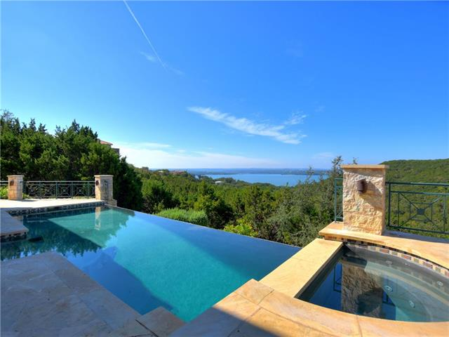 """La Casa Que Canta"" The most spectacular unobstructed Lake Travis views in town! Inviting outdoor living space with negative edge pool, hot tub, fire pit, and outdoor bar & grill.  This place was made to entertain! Fantastic master suite with private balcony and study. This unique property is not part of Villa Montana but enjoys the benefits of being behind the gates with NO HOA! Views from both floors! Private road with carport across the street for extra parking and storage. Call agent for access."