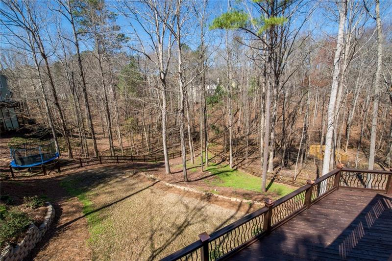 Over 1/3 acre of private wooded lot with fenced in backyard!