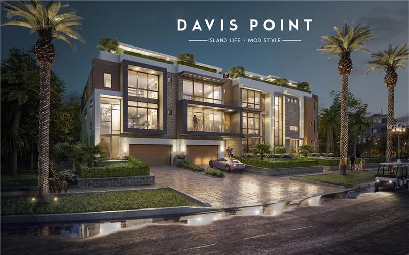 """Under Construction. Davis Point, a modern, ultra-luxury townhome project by Mod Group Development, is a unique opportunity for high-end home buyers to own one of the most upscale townhomes ever built in the Tampa Bay area.    The multi-million-dollar development designed by Thomas E. Lamb will include 4, three- and four-bedroom townhomes  + office, ranging from approximately 3,100 to 4,200 sq. ft. Features include: private elevators, oversized two-car garages, private entrances and walls of glass providing an abundance of natural light on every floor. Exterior maintenance, handled by the HOA, makes Davis Point an ideal """"lock-and-leave"""" primary residence.    Expansive open floor plans, ideal for entertaining, feature soaring 10' ceilings and full-height windows.  Premium appointments include Sub-Zero/Wolf appliances and Kohler fixtures as standard. Spacious balconies and private rooftops offer panoramic views of Davis Islands and its surroundings.  Construction  to be completed by Spring 2019."""