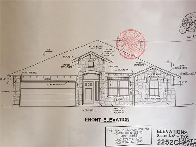 Lake Travis charmer! Under Construction with estimated finish date in December. Beautiful custom 3 bedroom, 2 bath home built by Hugo Homes. Quality finishes throughout with attention to detail. Arched doorways, soft-close cabinet drawers, elegant master suite, stone fireplace in family room. Lago Vista ISD. Area amenities include golf course, community pool, 9 parks, Lake Travis access and so much more!
