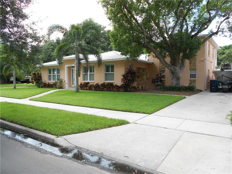 You can own this Beautiful Home on Barcelona St in South Tampa! This Well Maintained Totally Renovated House in 2008 sits on a 100'x107' Corner Lot in Virginia Park in Plant High School/ Coleman Middle School / Dale Mabry Elementary School District. The Single Story Part has 10' Ceilings / Huge Living Area with a Real Fireplace / Big Dining Area / Updated Kitchen Area with Real Wood Cabinets / Plenty of Granite Tops and Hard Wood Floors / 4 Bedrooms with 2 +1/2 Baths. The 2 Story has a Nice size Family/ Game Room downstairs and a Big Master Bedroom Upstairs with Master Bath and Walk-In Closet. Behind the house there is a separate additional 260Sq' Studio/Bedroom with a full bath . The rear patio has a Extra Large Spa/Hot Tub with Bath House & Exterior Shower nice area for entertaining or just relaxing. The house is all Masonry/Concrete with a Concrete 2nd Floor and a Concrete Balcony with stairs down to the Spa. There is a 500 Sq' 2 Car Garage in rear with Auto Gate Entrance and a Huge Shady Oak Tree That covers the rear 2nd Patio.