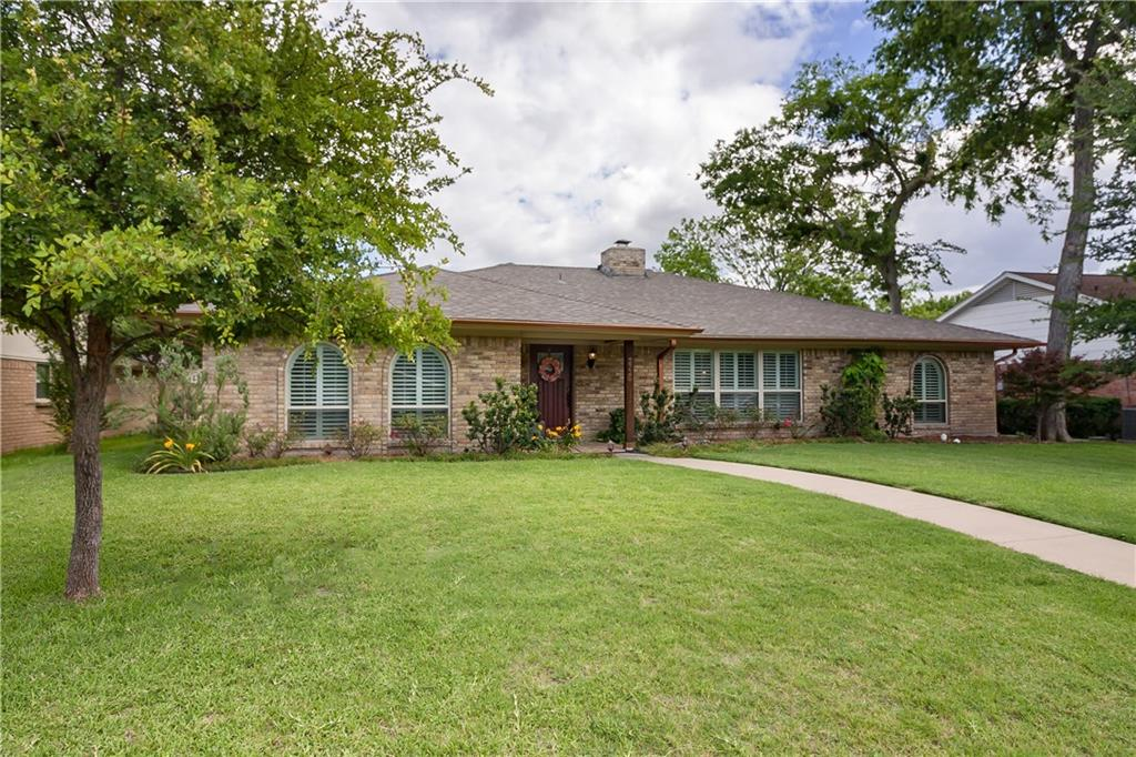 One-story ranch style home in west Plano welcomes you with a large front yard, tiled porch, beautiful wood door and travertine entry! Oversized family room has gorgeous floors, beam ceiling and a see-through gas log fireplace shared with a huge dining room with wet bar and beverage fridge. Spacious chef's kitchen has tons of storage, two pantries, granite, breakfast bar, glass cooktop, stainless appliances, double ovens, Frigidaire to stay! Enjoy views of the manicured backyard with 8-foot privacy fence and large patio. Plantation shutters throughout, two master walk-in closets, vessel bath sinks, walk-in master shower, energy efficient renovations, roof repl. in 2016. Incredible home in a convenient location!