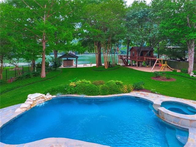Stunning traditional limestone waterfront home in desirable Lake Austin neighborhood.  This southern charmer boasts porches that run the length of the home both up/downstairs to experience all the visual wonder that is Lake Austin! All bedrooms have lake views and doors to porch areas to enjoy. Interior includes 4 bds/3 full/3 half bths/ 3 liv/2 din/ gourmet kitchen . Boat dock, cedar playhouse/deck overlooking lake/pool/ gazebo/park like setting manicured lawn/3 car garage. 24 hr. notice to show.