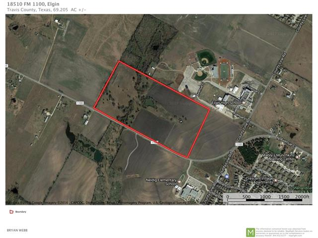 This property has significant commercial development potential! The property is bordered by Elgin High School on the north, and FM 1100 on the south, and is surrounded by city limits on 3 sides. With the location of recent apartment complex build-outs (Crescent Village) and nearby subdivisions, this location is perfect for development. The property is approximately two-thirds cultivated farmland and one-third pasture dominated by coastal Bermuda.