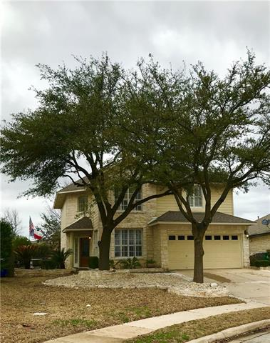 Beautiful three bedroom 2 1/2 bath home perfectly situated on a cul-di-sac in Cedar Park. Front and backyard oasis with large patios. Welcoming grand entry way, updated white kitchen, recessed lighting, large tile floors and plantation shutters throughout the home.