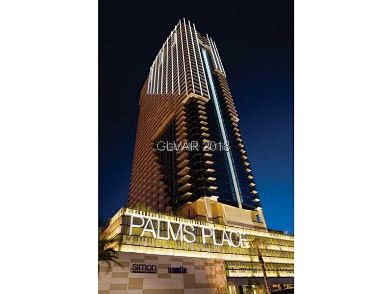 THE ONLY ONE BEDROOM CONDO WITH FULL STRIP VIEWS FOR SALE AT PALMS PLACE. FULLY FURNISHED, ONE BEDROOM-KING SIZE BED WITH A LARGE LIVING ROOM-QUEEN SIZE PULL OUT SOFA, KITCHEN WITH DINING AREA, STAINLESS STEEL APPLIANCES, 2 FLAT SCREEN TVS, GUEST BATHROOM, 2 TERRACES. LOCATED ON THE NE CORNER WITH WONDERFUL VIEWS OF THE ENTIRE STRIP. FITNESS CENTER, POOL, CONCIERGE.  PALM HOTEL & CASINO- ENJOY MANY NEW RESTAURANTS, NIGHTCLUBS, POOL AREA, CASINO.