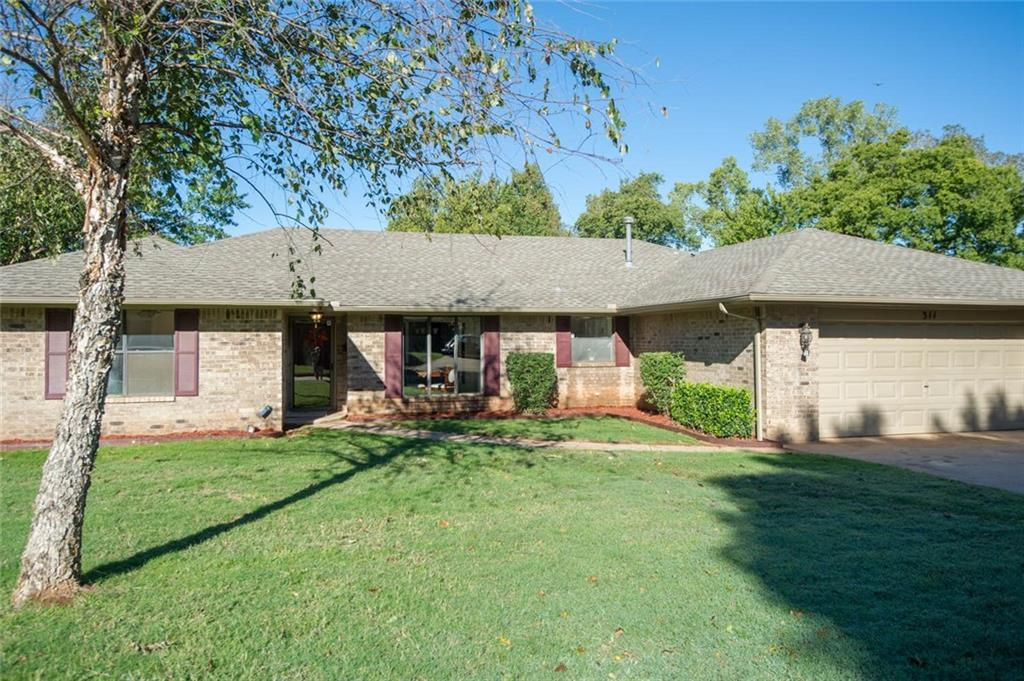 Here's your chance to get a beautifully updated home with lots of upgrades in Edmond for under $175k!! All on one level, this home is easy to navigate and has been well appointed with brand new neutral carpet, paint and has been updated with white woodwork.  The split floorplan has the master on one side, near the garage with convenient access to the kitchen and laundry room.   It has a roomy eat-in kitchen with window over the sink.  Several can lights and celing fans were installed to add more light. Some windows and doors were recently replaced. The main living area is huge and there's an awesome, fully enclosed sunroom surrounded by windows and not included in square footage! You'll love the home as well as the private lot.  No homes back up to this property!  Centrally located, it's close to eating places like Chelino's Restaurant, several churches,  St. Johns church, New Covenant United Methodist, Henderson Hills and Life Church and only a couple of miles from I-35 access!