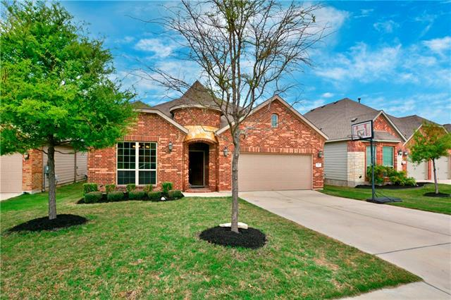 Fabulous Megatel Former Model Home! Crown Molding~Oil Rubbed Bronze Fixtures~Art Niches~Granite Kitchen~Gas Cooking~Stainless Steel Appliances~Tile Floors~Berber Carpet~Allure Wood Flooring~Furniture Type Island & Bath Vanities~EZ Clean Pull Out Windows~Keyless Entry Front Door~Gas Log FP~Water Softener~Tankless Water Heater~ Sprinkler System~Partial Gutters~Jetted Tub~Covered Patio! Brand New Elementary in Neighborhood, Fast Growing Community with New HEB and Shopping Close by!
