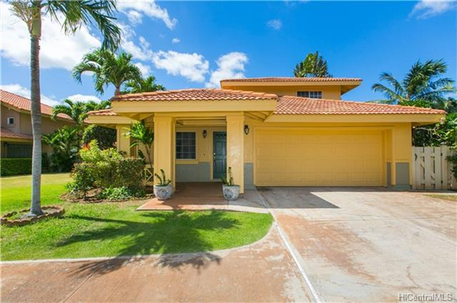 Open House Sunday 2-5 with NEW PRICE-MOTIVATED SELLER! Stunning, Newly renovated 4 bedroom, 2.5 Capri model home on Golf Course, with spacious living and family room, tucked away in a lovely cul-d-sac away from the hustle and bustle of busy and growing  Kapolei. Upon entry, this property boasts newly painted exterior, long, spacious driveway with a large 2 car garage. Completely fenced in yard with the back yard and patio overlooking the greens of Kapoei Golf Course.  Brand new luxury vinyl flooring throughout, fully remodeled U-shaped  kitchen which includes Hi -Tech, stainless steel internet friendly refrigerator, stove/oven, micro-wave hood appliances, all wood white cabinets with ebony granite counter tops. Newly painted interior, bathroom vanities and fixtures.  Landscaped yard includes fruit bearing Noni, lime trees,  sprinkler system and a TV Dish already installed.  Property sold AS-IS but in excellent condition.