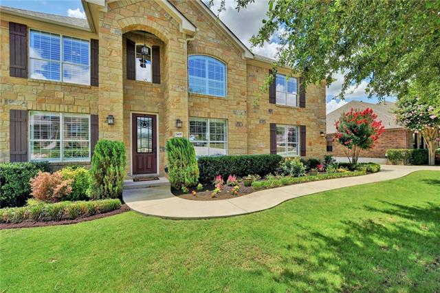 Superb Curb Appeal with fantastic hill country and greenbelt views featured with this well maintained, stone exterior 5 bed 3.5 bath 3 car garage home. Effective open floor plan with large master down, formal dining and dedicated office.4 bed & 2 fb up plus a bonus/ flex room. Huge deck for fun outdoor living w/ ceiling fan, speakers, built in grill w/ side burner, mini fridge. Crystal Falls neighborhood amenities and gated Fairways larger lot. Impressive millwork, casual elegance  and move in ready!