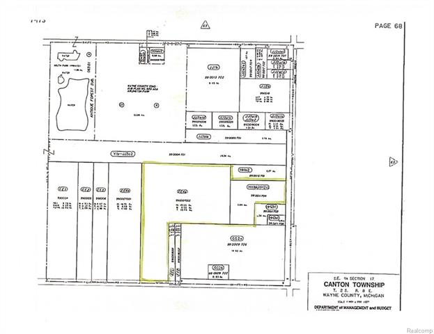 Canton Township infill development property. All data approximate and should be verified.