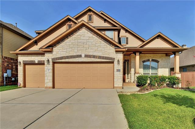 Stunning newer home in highly acclaimed Ranch at Brushy Creek. Convenient location and fantastic neighborhood. Close to parks, Greenbelt trails and community pool. Plus, exemplary schools! Spacious, open floorplan with soaring ceilings allows for tons of natural light. Builder upgrades galore and unique floorplan. Master and study/5th bedroom down and 3 beds plus bonus room and media room, up. Hardly used chefs kitchen with center island and granite counters. Private backyard w/ large patio. 3-car garage!