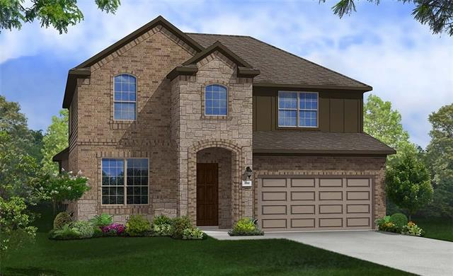 Two-Story Rosewood plan, on a CUL-DE-SAC home site, features a Formal Dining Room, Open Living Space, Fire Place in Family Room, Large Quarter-Round Kitchen Island, Game Room, and Media Room, along with Wood Floors in the Downstairs Common areas. Estimated completion early-November.