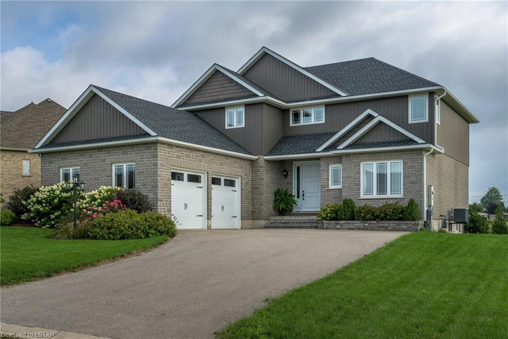 "Beautiful 4 bedroom, 3 bathroom, 2 storey family home (approx. 2680 sq. ft.) located on a large (almost 1/2 acre) country lot central to Aylmer, St. Thomas, 401, Tillsonburg and Ingersoll. Our gorgeous home features 9ft. ceilings on main floor, large white kitchen with stainless steel appliances and oversized 9ft long island, hardwood, natural stone, and ceramic flooring, large MB with walk-in closet, 5pc ensuite and 2nd floor laundry room, 2 car garage, transom windows, large covered back deck with gas line to BBQ, unfinished lower level to create what you want, HE gas furnace/AC/HRV, water softener, 200 amp service and so much more.  A pleasure to show.  Shows like a ""10""!"
