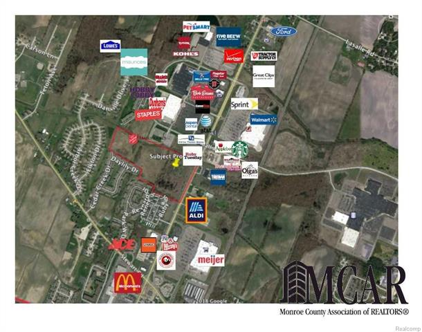 This 29 acre property is located near a Walmart Supercenter, many national chain restaurants, and big box retailers. It is adjacent to the south of Ruby Tuesdays. It was previously approved for a big box type development that included 5 outlots. This property is located near Starbucks Coffee, Lowes, Kohls, TJ Max, PetSmart, Dunhams, Hobby Lobby, Ruby Tuesdays, Applebees, Flagstar Bank, AT&T, Verizon, Staples, Jimmy Johns, Belle Tire, Bob Evans, Aldis, Meijer Grocery, Applebees, Olgas, Ace, U-Haul, Tireman, Hobby Lobby, Ollies, five-below, Great Clips, Tractor Supply, Ford Dealer, Frenchtown Mall, Phoenix Theatre, and more. It is just south of a Walmart Supercenter. Adjacent properties to the north for sale as well. 1 acre sites available. Ideal for restaurant, small shopping center, multi-family. Will split. 1-10 acres. Ideally suited for restaurant or oil change.