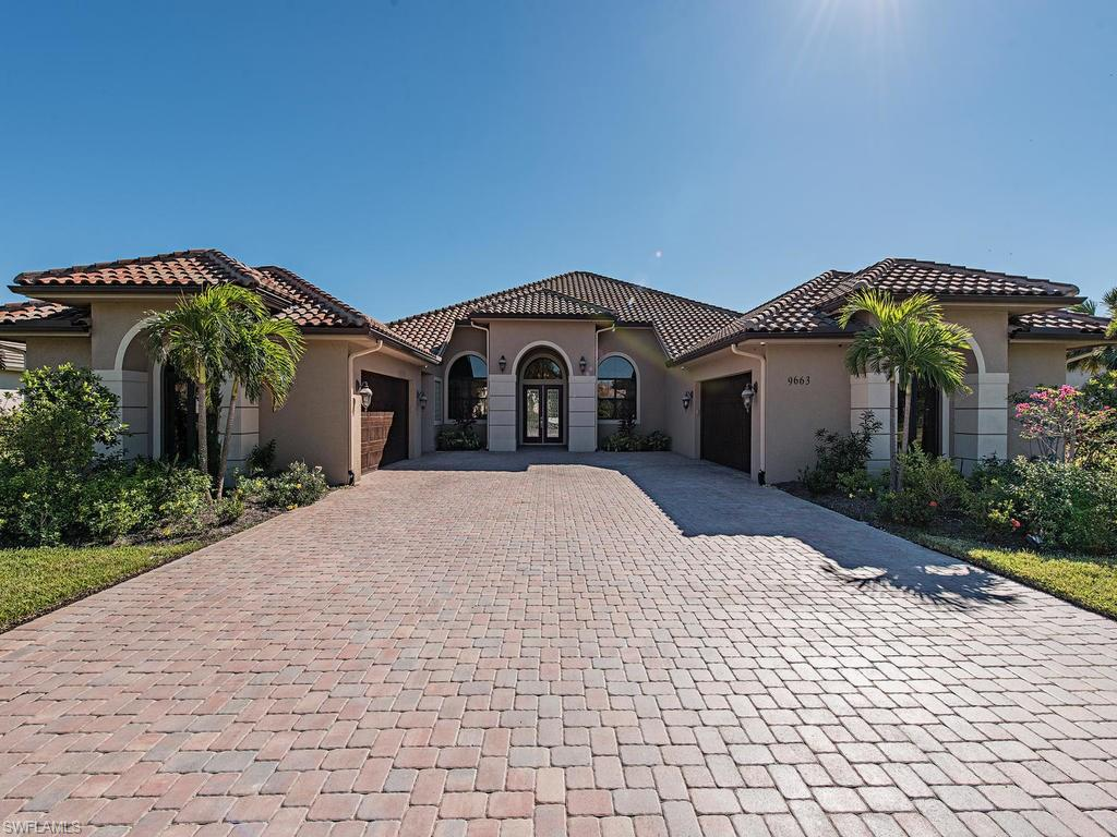 Beautiful Custom Home in Prestigious Lipari  Neighborhood in Treviso Bay.  The ONLY 4 CAR GARAGE home in Neighborhood. This open floor plan  offers tile throughout, abundant natural light, granite counter tops with stainless steel gas appliances, wine cooler, microwave/ oven and gas range and much more! Relax in the master bath which boasts dual sinks, jetted tub and Large walk in shower.   Windows throughout the home offer fantastic views.  This  southwestern exposure lake view lanai offers an incredible outdoor living space with gas fire pit, full outdoor kitchen/Bar area. Salt water gas heated pool/spa. Half house generator which kept power on in kitchen and master bath air conditioned  during Irma power outages .   Home does not include the Golf HOA membership, so the fees are VERY LOW! All Master HOA Amenities are included: Poolside Dining at Rillasare and Golf Side dining at the Main clubhouse.  Loads of Social Activities.  24 Hr Fitness and full service Spa, Resort Pool, Great Tennis  program.   All this and only 6 miles to 5th AVe!   If you want a golf membership, you can always purchase a condo to use as an investment property and keep the golf for yourself.