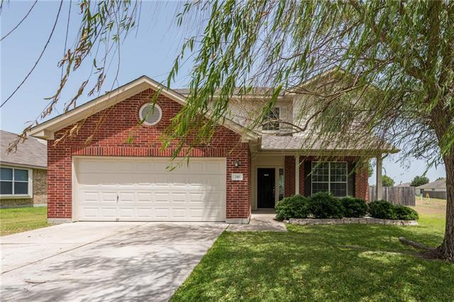 Large 4 bdrm 2.5 bath home w/formal dining, large living room w/cozy fireplace & huge kitchen with tons of counter space. All bedrooms up w/half bath downstairs for guests. This home is situated on an oversized lot in Legends of Hutto. Dishwasher, microwave, A/C, roof and fence were all replaced in 2016. Enjoy your front covered patio with the shade from the large willow tree or sit out on your covered back patio and enjoy your large backyard.  Great for entertaining! Carpets to be cleaned on 7/16/18.