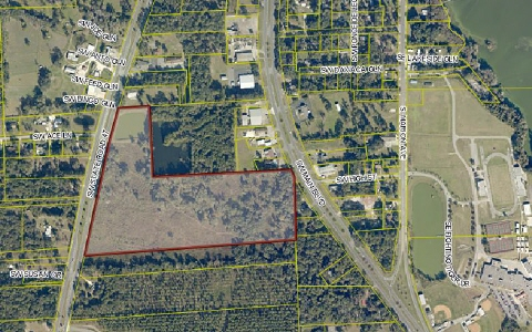Great investment property with frontage on both SR-47 and US-41 (Main Blvd); property has 1,338 ft frontage on SR-47 and 112 ft frontage on US-41(Main); retention pond already on site; 2 parcels (one is 35 acres and zoned CI; Southern 9.69 acre parcel is RSF-1)