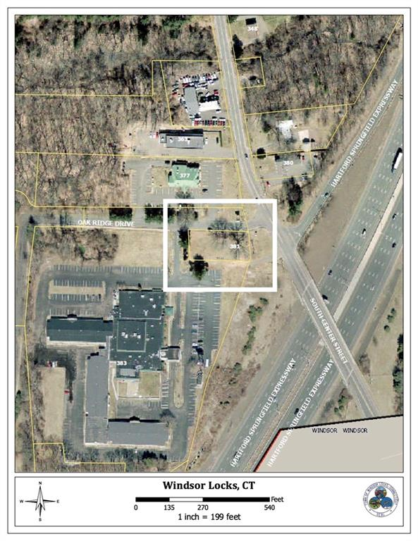 Corner lot zoned B-2 in established area.  .41 Acres with frontage along Oakridge Dr. which a town road.  Corner of Oakridge and South Center St.  Very easy highway access, directly across the street from exit 41&39 I-91South.  All public utilities available incl, water, gas, electric, and sewer.