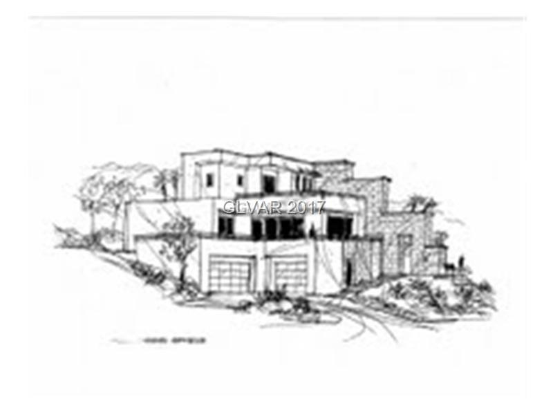 """Amazing """"Desert Contemporary"""" custom design ready to commence building.  Lot backs to the mountain for privacy.  Spectacular 4 level design features music room, gallery area, fitness room, office, several outdoor terraces, chef quality kitchen, theater, wine room, elevator, resort-style pool & 4-car garage.  Beautiful mountain, Valley & Strip views from several terraces. Welcome to your dream home in the heart of MacDonald Highlands!"""