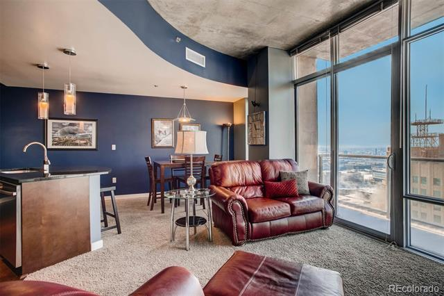 Fully furnished 1-bedroom condo with great views of the Rocky Mountains, Downtown Denver & beyond!  This BRIGHT 24th floor rental home at the SPIRE has great views and is located in downtown Denver. Stainless steel kitchen, granite, and wood flooring.  Comes with an assigned parking space in the attached parking garage. Lots of storage space, custom closet system, LEED-certified, great location w/40,000 sq ft of awesome amenities, including a rooftop pool (heated & open year-round), two hot-tubs, extensive health club, The Zone multimedia lounge, Box Office multimedia theater, garage dog park, yoga garden, outdoor grilling area, 10th floor private event lounge, 24-hour courtesy desk, furnished SPIRE guest suites, and modern security & access control systems. Super-fast internet, and DirecTV, with Showtime and HBO. This condo comes with a storage unit as well.  Sorry, no pets & no smoking. Additional $200/mo for all utilities.  Come home to Downtown Denver's SPIRE--life is better here!
