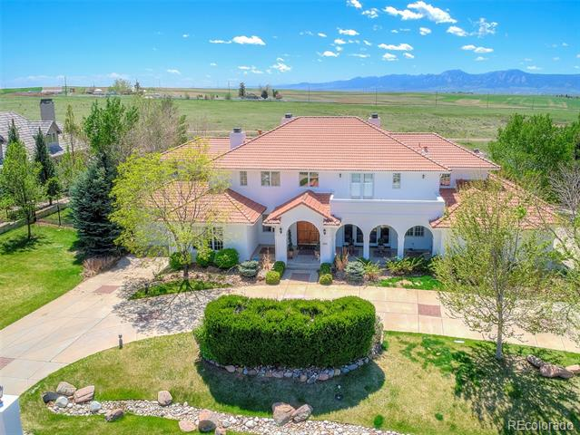 Stunning Mediterranean Beauty in Somerset Estates w/panoramic views of the Front Range. Enjoy nearby hiking & biking trails, just minutes to historic downtown Niwot & just a quick drive to Boulder. Large backyard deck perfect for entertaining, overlooking the pool & open space. 7 beautiful bedrooms, all with en suite bathrooms. Walkout basement w/ wine cellar, home theater, bar & gym. Floor to ceiling windows, gourmet kitchen & beautiful finishes! This property has something for everyone.