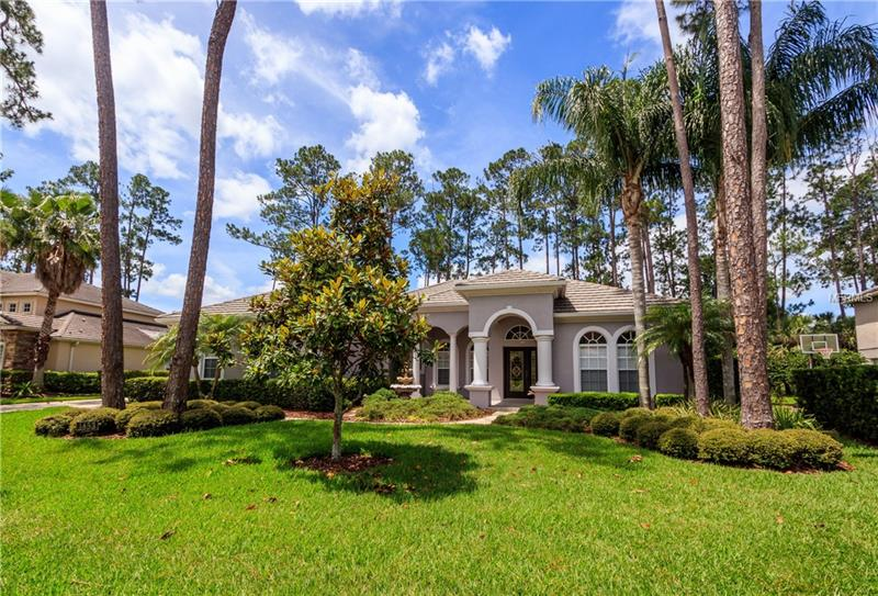Single Story, one owner home located in highly desirable gated community of Magnolia Plantation.  This home is situated on large .41 acre lot overlooking golf course.   It has been meticulously maintained - recently painted exterior.  Stunning leaded glass entry doors, office with wood floors, 3 way split plan, large screened porch overlooking private, fenced yard.  Gourmet kitchen with wood cabinets, walk in pantry, eat in area PLUS breakfast bar.  Kitchen overlooks large great room with golf course views.  Separate formal dining room.  Indoor laundry with laundry sink and storage cabinets.  Lovely master suite with french doors to screened porch, large walk in closet, bath with double sinks, soaking tub and separate shower.  The home is light and bright with neutral tile and colors throughout. Paver driveway. Newer Water Softener System. 3 car side entry garage. Magnolia Plantation offers 24/7 manned guard gate, tennis courts, playground, fields and side walks. Great access to shopping, restaurants, schools, I-4 and 417.   Wonderful opportunity to get a house in this family friendly neighborhood for under $500K.