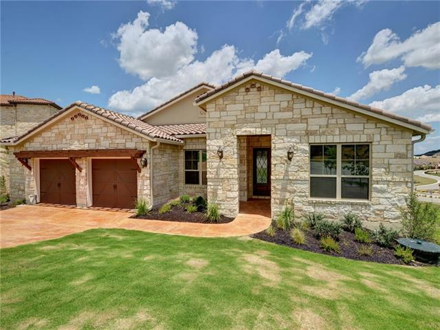 Beautiful one-story, open floor plan with incredible hill country views from the large covered patio.  The gourmet kitchen opens to a large great room with 11' foot ceiling.  This home is includes an over-sized garage on a private cul-de-sac.  This is a must see.  Completion in Spring 2018.