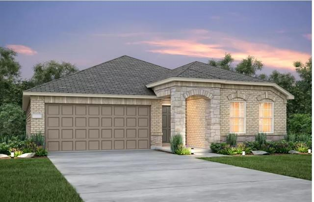 Brick/stone front elevation, tray ceiling family & master, stainless built-in appliances, kitchen island. Single basin kitchen sink, under cabinet lighting, upgraded counter tops in both baths. All flooring upgraded, blinds, garage opener, full sod.