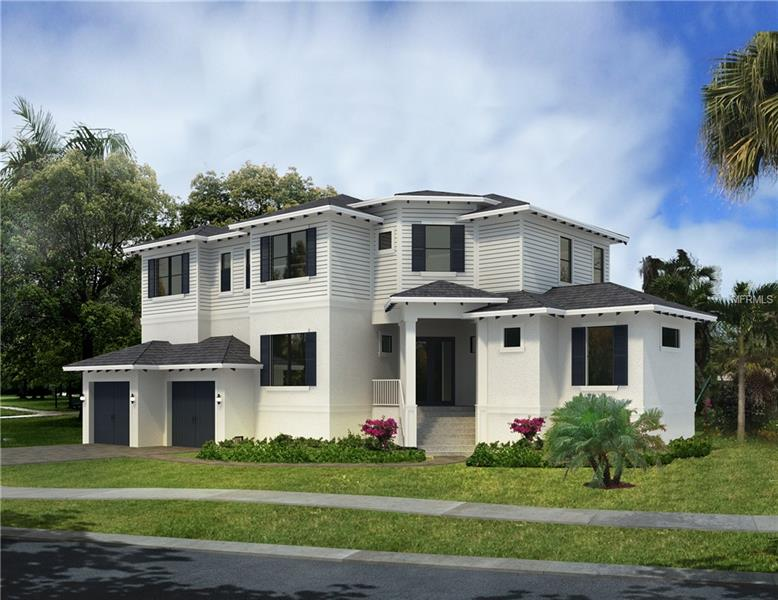 """Under Construction. Coastal Craftsman on impressive corner lot surrounded by multi-million dollar properties in the coveted neighborhood of Sunset Park in South Tampa. Close proximity to TIA & area bridges. A-rated school district. Solidly constructed w/2 story block, impact windows & spray foam insulation. Gracious & inviting living areas flow through the 1st floor including a grand entry, formal dining, eat in kitchen w/wine bar, chef's kitchen & great room w/views out to the pool. Additionally 1st floor has a guest suite w/full bathroom, powder pool bathroom, mud-room & study/playroom. 2nd floor holds 3 more secondary bedrooms & expansive master suite. The rear yard escape includes a Modern designed Saltwater pool w/sun shelf & glass mosaic semi-submerged spa, Travertine Deck, Outdoor Kitchen & Pool toy closet topped off w/extra landscaping. Kitchen attributes; Viking Gas appl package (w/double ovens, cook top, microwave drawer, dishwasher & fridge), beveled subway tile back splash, quartz counters to mimic marble, pot filler, wine bar, farm sink & custom soft close white shaker cabinets stacked up to the ceiling w/under cabinet lighting. Bathrooms have a unique array of designer tiles w/marble floors in the master bath. 6.5"""" wire brushed floors throughout (NO CARPET), 8' Solid core doors, 7"""" crown molding, cased windows & smooth drywall. Photos are from previously built homes & may show differences in layout/finishes. Rendering is for artistic purposes and should not be relied upon."""