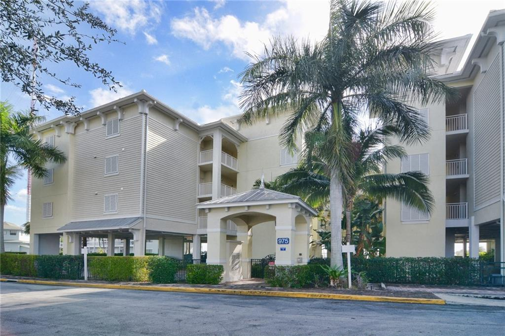 Stunning panoramic, unobstructed view of the St. Lucie River in this desirable, fully furnished, end unit condo. Features such as new porcelain tile flooring, granite kitchen counter tops, stainless appliances, in-unit washer/dryer, huge master suite and bath, private guest suite with bath and private balcony to name a few. Under building reserved parking space with remote gate entry. Next to the Yacht Club or easy walk to downtown Stuart for entertainment, dining and shopping. Yacht Club features fitness center with sauna and steam rooms, pool side patio grille, restaurant and bar and full service marina to accommodate 100' plus vessels. One time, refundable $10,000 Yacht Club fee is due at closing. Monthly Club dues are currently $529.21 per month (but reducing to $175 in 2018) and current $1,200 food and beverage requirement per year will be eliminated in 2018.