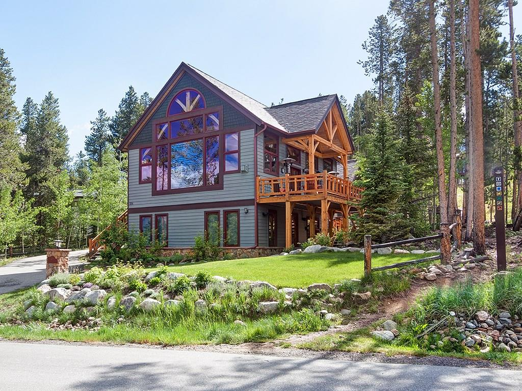 Stunning Timber Frame Home overlooking Downtown Breckenridge with views you won't believe of the ski area and Ten Mile Range. This sensational home features a main floor master suite and multiple living areas with plenty of room for the whole family. Other amenities include custom marble and limestone tile work, steam shower, private hot tub, wet bar, wine room, large pantry and attached 3 car garage. Cap it off with one of the best locations in Breck and trail access to hiking, biking and town
