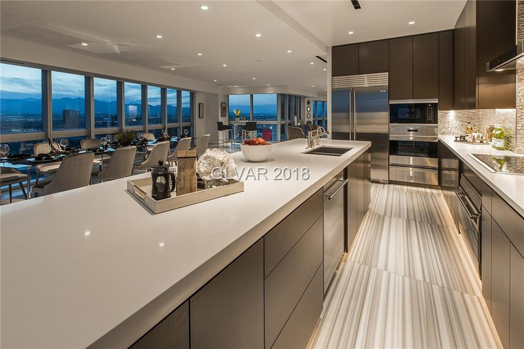 CELEBRATE SUPERBOWL IN LAS VEGAS PENTHOUSE #4400!!! BUILT OUT IN 2015 & NEVER LIVED IN! Sophisticated & Elegant design with Simplicity. Look Out & Enjoy Open Panoramic Sunset & Strip Views with Complete Privacy from the 44th Floor...not facing other Highrises Condo's. Open the Door to New Heights with Two Outdoor Verandas & Juliet Balcony from Master Suite! 3200SqFt 3BR/3Bath/4Car accommodations with Concierge Escalade service and amenities!
