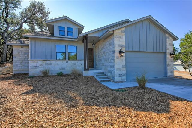New Construction that is NOW Ready for move-in, Fresh Design & Timeless Appeal! located in a Brand New Custom Home Neighborhood in Lago Vista! 25 home sites & several floor plans, Fresh Area - Big Oaks – walk to the water - Unique opportunity to own a Millennium series home, designer appointed by Award Winning Builder for >300k! Open layout, 10' ceilings, 8' doors, huge Island & large sliding glass door that opens to a covered patio underneath massive oaks.