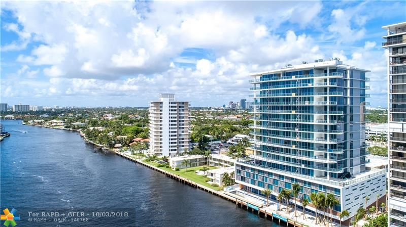 AQUABLU a New Construction Condominium on the Intracoastal Waterway. Iconic contemporary design. Unobstructed views of the ocean, Intracoastal & city skyline. 3BR, 3.5BA, Great Rm, Family Rm, 10' ceilings, culinary kitchen: Wolf & SubZero appliances (induction cooktop), 2 oversized balconies w/summer kitchen, furniture ready, fitness center, salt water heated pool, dockage available, valet & concierge. walk to the beach, shops & restaurants. sq. footage from developer believed accurate not verified.
