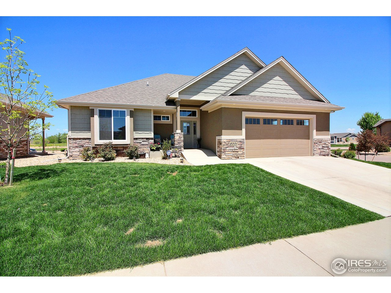 Amazing floor plan & finishes on this custom built built zero step entry patio home. Not ADA compliant , but pretty close! Gorgeous finishes, granite counter tops, large garage, South facing, all stucco/stone exterior. Amazing kitchen, S.S.appliances, large island & huge pantry! Finished basement w/ 2 large bedrooms, wet bar & plenty of storage. Light, bright, open floor plan w/ panoramic windows. Yard care/snow removal/trash, ext H20 included in HOA. Across the street from Poudre Trail.
