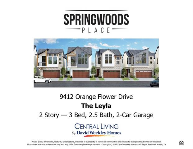 This chic new David Weekley Home in Springwoods Place is available for an incredible value during our New Year, New Home event! This home features painted white cabinets in the Kitchen with a pull-out trash/recycle bin, drawers, undercabinet lighting & much more! The Living Room includes a conduit and blocking as well as surround sound for all of your entertaining needs, plus a gas connection for grilling on your very own personal deck! Wood floors and so much more! This home won't last long!