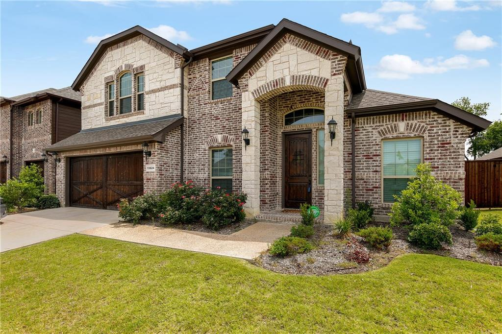 Gorgeous, landscaped 5 BDRM, 3 BTH home in Valencia on the Lake, Denton ISD. Hand scraped wood flrs, crown molding, light & bright w neutral palette & open concept perfect for entertaining! Formal dining & chef's kitchen w custom cabinetry, granite, gas cooktop, dbl oven, ss appliances, island breakfast bar open to breakfast room & living area w stone fireplace & soaring ceilings! Spacious mstr suite down w sitting area, dual sink vanity, soaker tub, sep shower, walk in closet. Home office or 5th bdrm down w full bth. Lrg game rm up. Privacy fenced, big backyard w covered patio perfect for relaxing or outdoor activities. Easy access to 380, 423, restaurants & shopping. See our 3D walk thru for more detail.