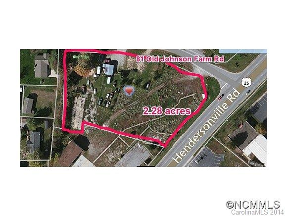 Level 2.28 acres with water and sewer available. Ground lease is $4,000 per month NNN. 158-foot frontage on Hendersonville Road. 720-square foot building has little value.