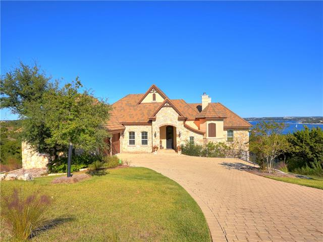 Custom Silverton home - ¾ acre w panoramic Lake Travis views. Chefs kitchen w Bosch appliances, leaded glass cabinetry & pot/pan drawers. Plantation shutters, antique doors, hardwood floors, custom lighting & window treatments.  Balcony w outdoor kitchen & fireplace. Pool & spa by Cody Pools – multiple outdoor living areas & firepit.  Lots of storage.