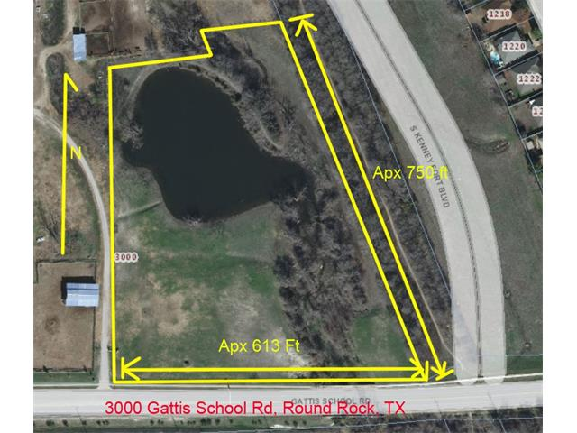 Approximately 7.52 Acres Currently Zoned SF-1/SF-R. About 1/2 of property is in flood plain. Southeast corner borders future Round Rock Arterial Approximately 470 ft of frontage on Gattis School Rd