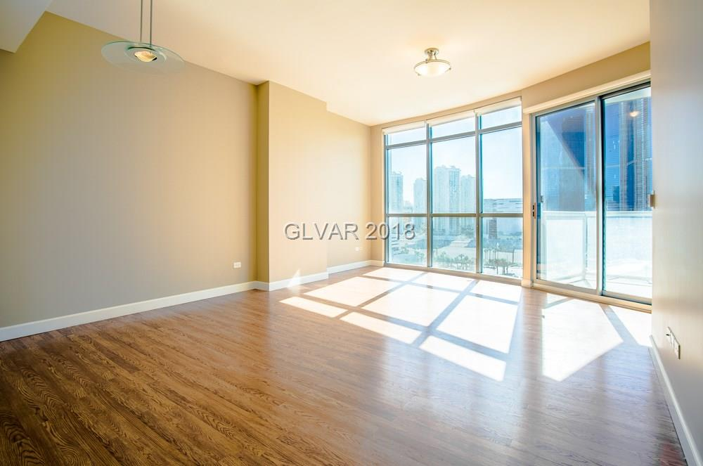 Great Strip location and near downtown. Wood floors through out, SS appliances, granite countertops and two good size bedrooms and two full baths. Enjoy the lights of the strip right off the terrace. Hard to find 2br with strip views