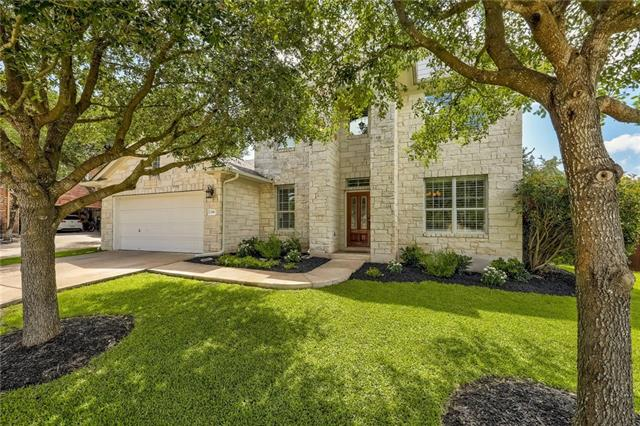 Elegance & style! This lovely stone home on a large corner lot will take your breath away. Located in Cedar Park minutes from Austin. Enter into the beautiful foyer with living/den & dining rooms to either side. Continue into the great room w/ 2 stories of windows & ceilings! You'll delight in the large, upgraded kitchen w/ updated appliances & breakfast nook open to the great room. The backyard w/ flagstone patio awaits you...large enough to build your dream pool! If not, the community has 2 of its own.