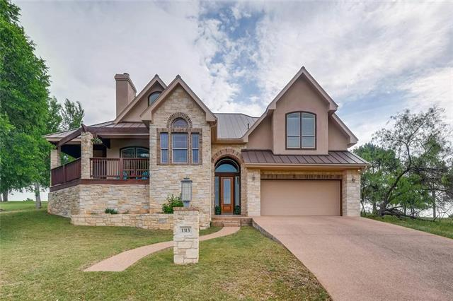 Gorgeous views on Ram Rock golf course in Horseshoe Bay. 4/3.5/2 baths+study Enjoy coffee or cocktails on the 3 decks. Hill Country and golf course views from every room. Fabulous split level floor plan. Spacious open living area w/ vaulted ceilings, wood burning FP and tons of light. Cooks kitchen w/dble ovens, center island with vegetable sink, generous breakfast area and separate dining room. Master suite offers his and hers closets, jetted tub, double sink, sitting area and access to the front deck.