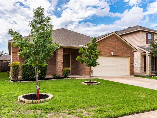 Beautiful single-story home in the Ranch at Brushy Creek.  Fresh paint and new carpet in 2016.  Three bedrooms, two full baths, formal dining and office/study area.  Extensive kitchen storage.  No wasted space - great kitchen and living room layout ideal for entertaining.  All of this and in Leander ISD!  Come see it today!
