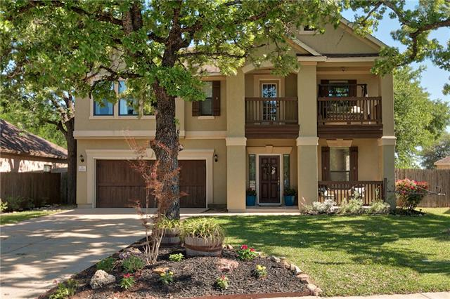 Charming two-story home with gorgeous curb appeal and stunning interior finishes. Each room flowing seamlessly to the next, the living room and breakfast nook connect to kitchen with granite counters, beautiful cabinetry and double ovens. Enjoy a large upstairs bonus space, a spacious master bedroom with ensuite, a downstairs guest bedroom ideal for multigenerational living and a beautifully-landscaped backyard with a covered back patio and plenty of space, beautiful peach tree and gate to middle school.