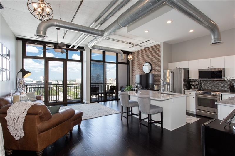 Family room and Kitchen with view of downtown.